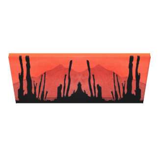 Cactus Silhouette with Mountain on Orange Card Canvas Print