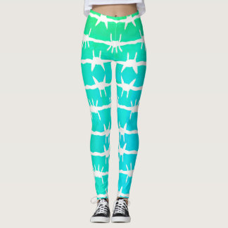 Cactus Spike Blue Green Ombre Leggings