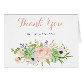 Cactus Succulent Floral Thank You Card