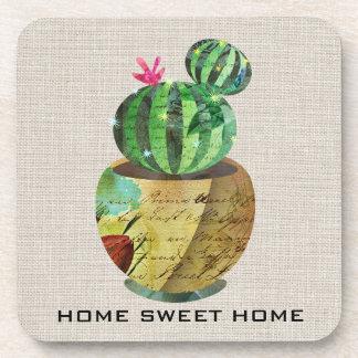 Cactus Succulent Green Plant Burlap Hard Plastic 2 Coaster