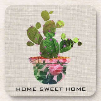 Cactus Succulent Green Plant Burlap Hard Plastic Coaster