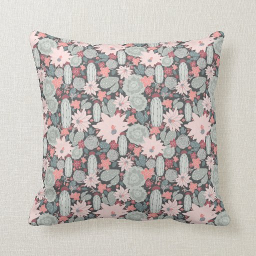 Cactus Succulent Plants In Pinks and Mint Pattern Cushion