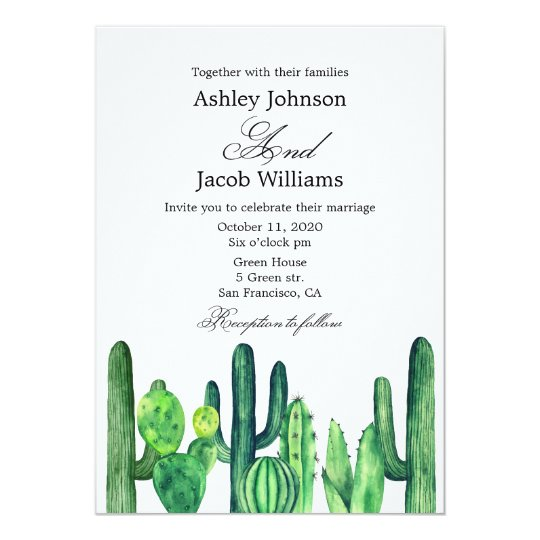 Cactus wedding invitation. Succulent modern invite