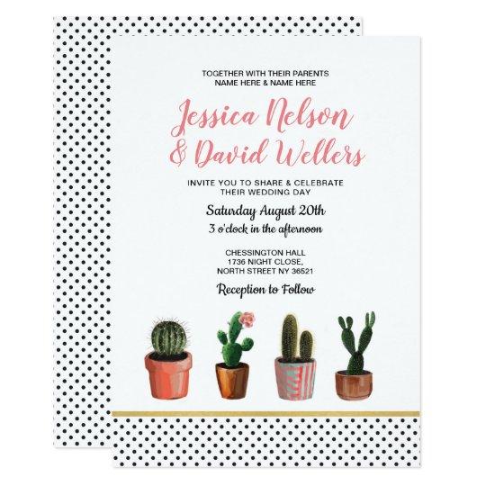 Cactus Wedding Invite Polka Dot Succulents Cacti