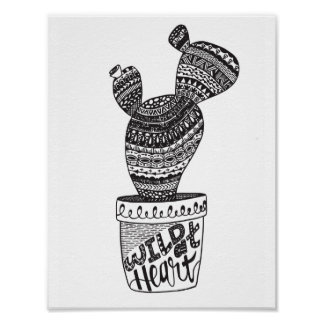 Cactus - Wild At Heart - Art Print Poster