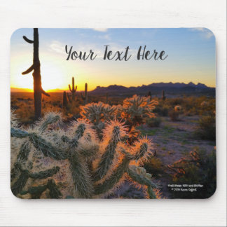 Cactus with Arizona sunset Superstition Wilderness Mouse Mat