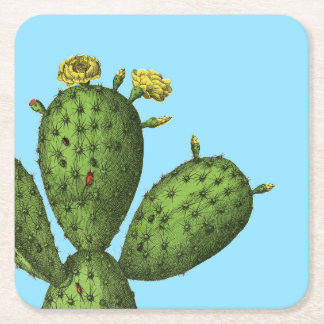 Cactus with Yellow Flowers Square Paper Coaster
