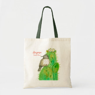 Cactus Wren State Bird of Arizona Saguaro Tote Bag