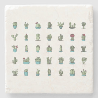 Cactuses and Succulents Illustration Marble Stone Stone Coaster
