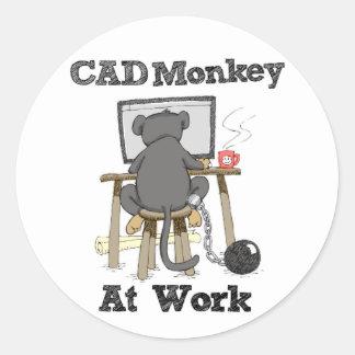 CAD Monkey At Work Classic Round Sticker