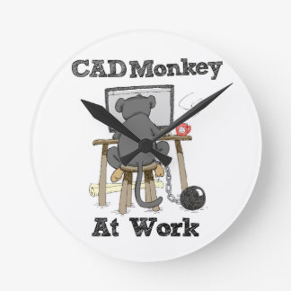 CAD Monkey At Work Round Clock
