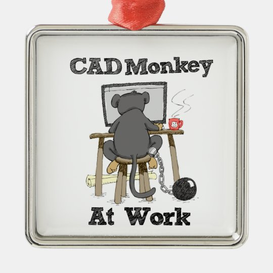 CAD Monkey At Work Silver-Colored Square Decoration