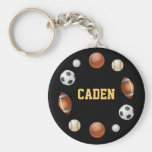 Caden World of Sports Key Chain - Black