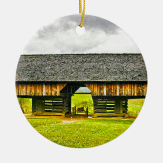 Cades Cove Cantilever Barn at the Tipton Place Christmas Ornament