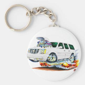 Cadillac Escalade White Truck Basic Round Button Key Ring