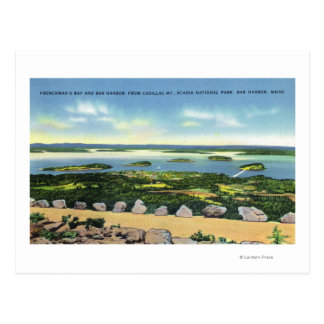 Cadillac Mt Summit View of Bar Harbor 2 Postcard