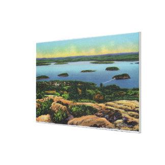 Cadillac Mt Summit View of Bar Harbor Canvas Prints