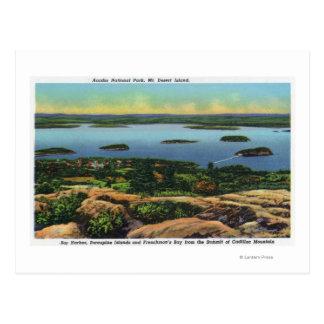 Cadillac Mt Summit View of Bar Harbor Postcard