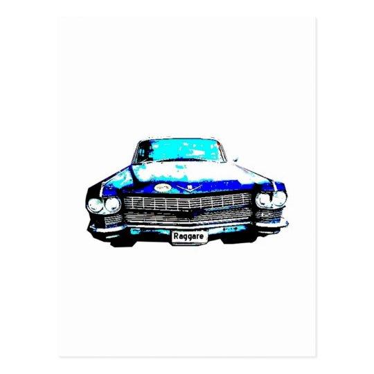 cadillac raggare car postcard