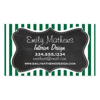 Cadmium Green Stripes; Retro Chalkboard Business Cards