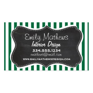 Cadmium Green Stripes; Retro Chalkboard Pack Of Standard Business Cards