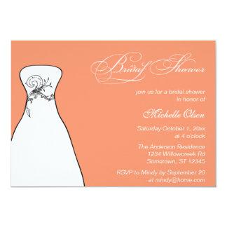 Cadmium Orange Wedding Dress Bridal Shower 13 Cm X 18 Cm Invitation Card