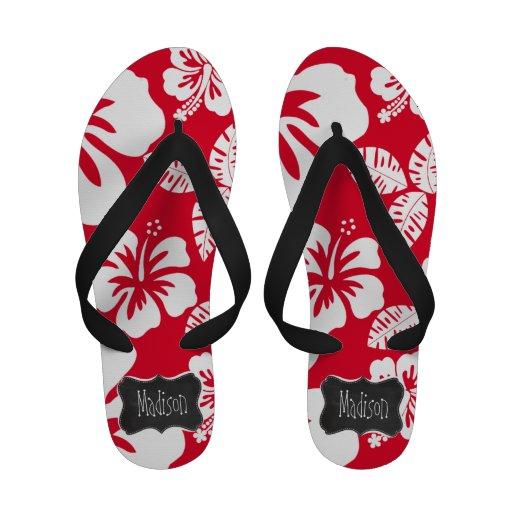 Cadmium Red Tropical Hibiscus; Chalkboard Flip Flops