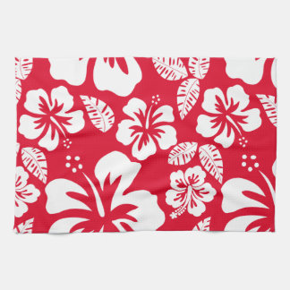 Cadmium Red Tropical Hibiscus Flowers Tea Towel