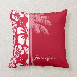 Cadmium Red Tropical Hibiscus; Palm Cushion