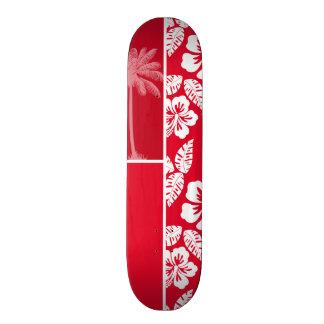 Cadmium Red Tropical Hibiscus; Palm Skate Board Deck