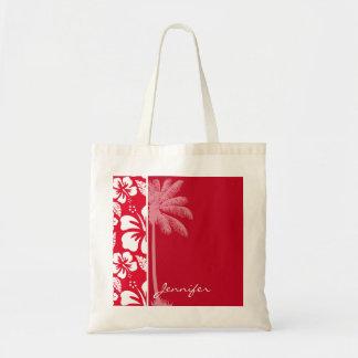 Cadmium Red Tropical Hibiscus; Palm Budget Tote Bag