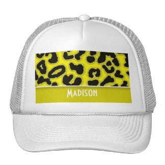 Cadmium Yellow Leopard Animal Print; Personalized Trucker Hat
