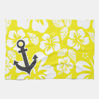 Cadmium Yellow Tropical Hibiscus; Anchor Hand Towels