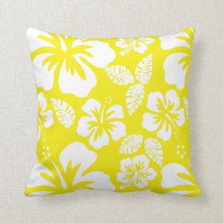 Cadmium Yellow Tropical Hibiscus Cushion