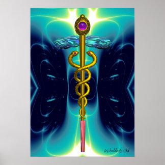 CADUCEUS 3 , vibrant gold ametist Poster