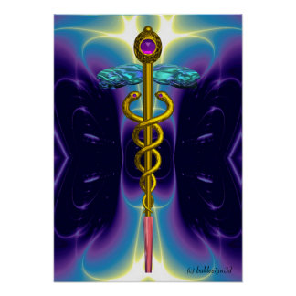 CADUCEUS 4, vibrant gold amethyst Poster