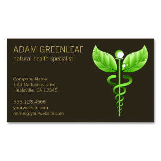 Caduceus Alternative Medicine Business Card Magnet Magnetic Business Cards (Pack Of 25)