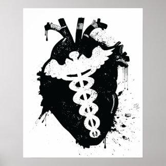 caduceus anatomical heart poster