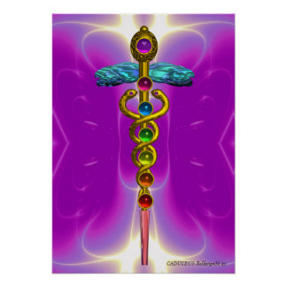 CADUCEUS AND 7 CHAKRAS vibrant gold amethyst Print