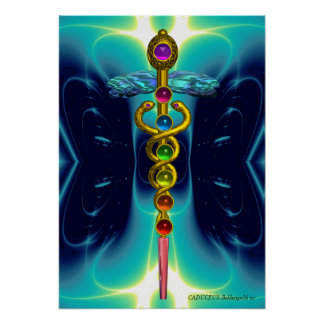 CADUCEUS AND 7 CHAKRAS vibrant gold ametist Print