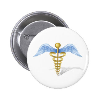 Caduceus 6 Cm Round Badge