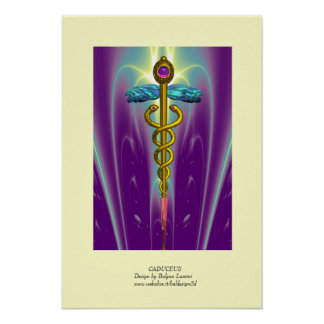 CADUCEUS colossal size vibrant gold ametist Posters