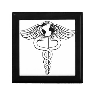Caduceus Globe Medical Symbol Small Square Gift Box