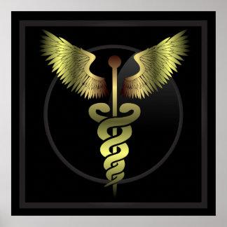 Caduceus Gold medical Print