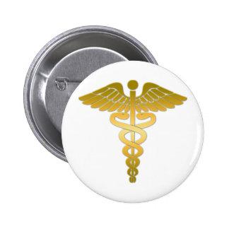 Caduceus golden 6 cm round badge