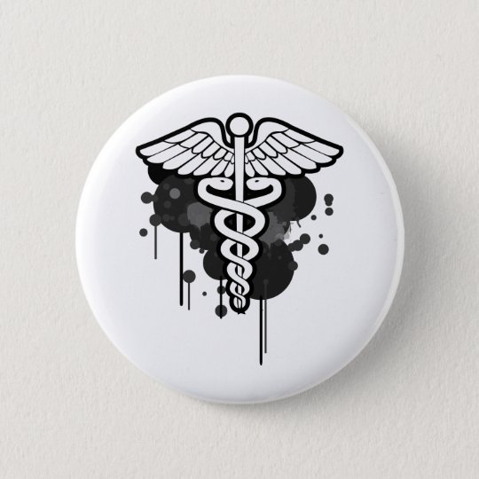 Caduceus grunge too 6 cm round badge