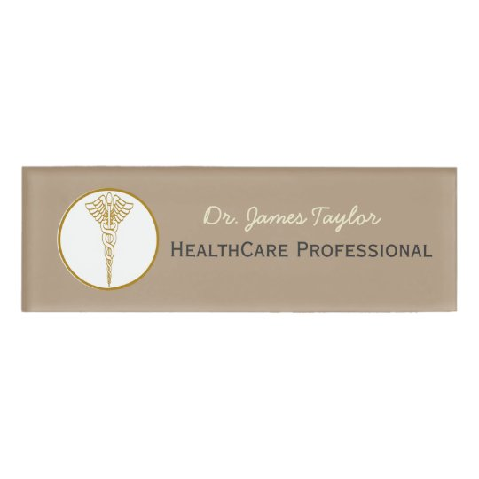 Caduceus Illustration Doctor Healthcare Employee Name Tag