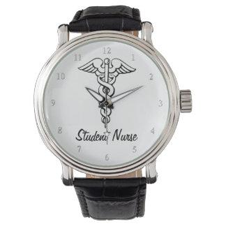Caduceus Medical Symbol Nursing Student B&W Watch