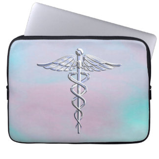 Caduceus Medical Symbol on Mother Pearl Decor Laptop Sleeve