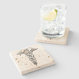 Caduceus Medical Symbol Stone Coaster
